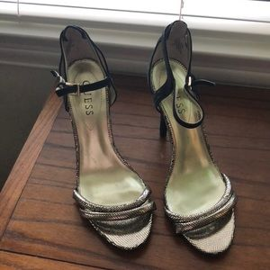 NWT Guess Black and Gold Stiletto Sandals